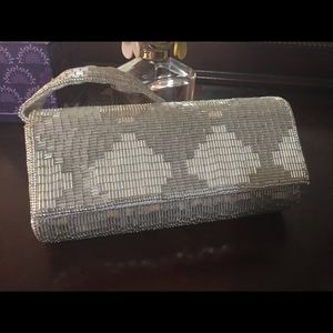 Cache Small Silver Beaded Evening Bag